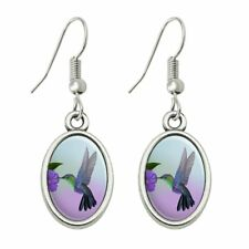 Hummingbird Crowned Woodnymph Purple Violet Dangling Drop Oval Charm Earrings