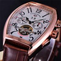 Automatic Tourbillon Mechanical Men's Watch Vintage Tonneau Auto Date Wristwatch