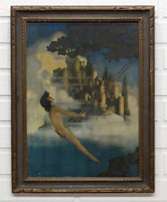 1904 Antique MAXFIELD PARRISH Nude DINKY BIRD Lithograph Print in ORIGINAL FRAME