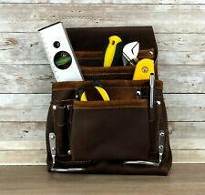 Genuine Leather Tool Pouch Bag Carpenter Construction Hammer Holders 8 Pockets