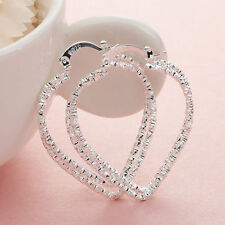 "Pretty New Sterling Silver Plated Textured Heart Shaped 1.5"" Hoop Earrings"