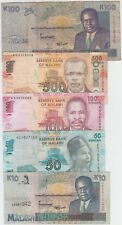 Malawi Banknote Lot 5 different notes, Circulated