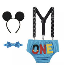Boy Mickey Mouse Blue One Cake Smash 1st Birthday Costume Photo Prop Outfit Set