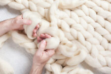 DIY -8 lbs White Wool Roving Fiber make Chunky Large Knit Throw Blanket FREE SH