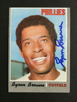 Byron Browne Phillies Signed 1970 Topps baseball card #388 Auto Autograph