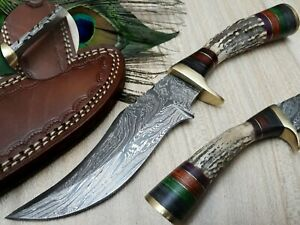 LOUIS SALVATION RARE CUSTOM HANDMADE DAMASCUS HUNTING BOWIE KNIFE ANTLER HANDLE