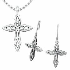 Leaf Cross Set: Sterling Silver Pendant and Earrings