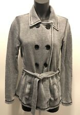 ROXY Medium Gray Distressed Belted Peacoat Jacket Black Buttons RN 114199