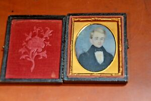 Antique c1800 Hand Painted Portrait Miniature of a Young Gentleman Painting