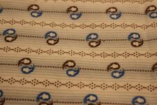 """100% COTTON FLANNEL BY THE YARD---42""""--BLUE/BROWN DESIGN ON WHITE"""