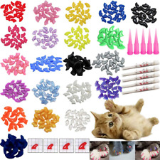 New listing 100 Pcs Soft Pet Cat Nail Caps Cats Paws Grooming Nail Claws Caps Covers Of 5 Ra