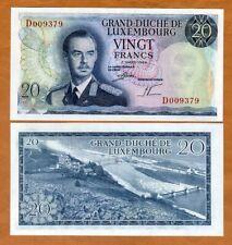 Luxembourg 20 Francs, 1966 P-54, UNC > Grand Duke Jean, Pre-Euro