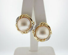 Mabe Pearls 15mm Diamonds Solid 14k Yellow Gold Large Omega Back Earrings