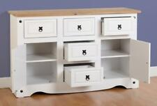 Corona 2 Door 5 Drawer Sideboard in White/Distressed Waxed Pine Mexican Wood