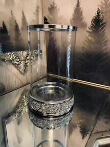 Crushed Diamond Crystal Diamante Beaded Hurricane Candle Jar Holder tall 21.5 CM
