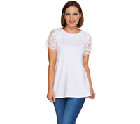 Isaac Mizrahi Live Short Sleeve Knit Top with Lace Yoke SATIN BLUE Color Size XS