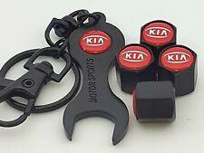 KIA Black Valve Dust Caps With double sided logo Spanner Keychain Picanto Sporta