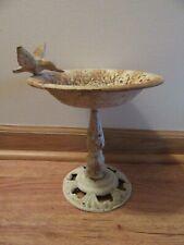 Vintage cast metal Bird Bath/Feeder w/Hummingbird,Used,Rusted ,8 1/2 in.high