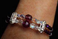 Bracelet Amethyst Gemstone Beads with Austrian Crystals, Rhinestones 2 strand