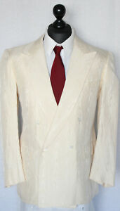 Brioni Sakko Gr. 52 SEIDE Creme Zweireiher Perlmuttknöpfe Beige Weiß silk