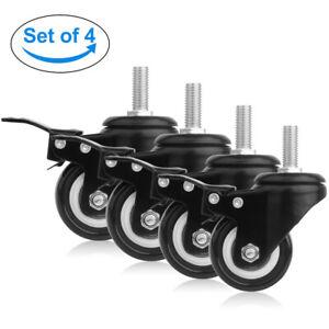 4×Schwerlastrollen Vollgummirollen Transportrollen mit Bremse Lenkrollen 150kg