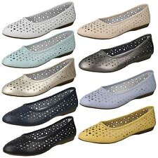 Ladies Down to Earth Leather Slip on Ballerina Shoes Pink UK 7 Standard