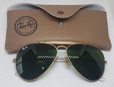 Usado Vintage Aviador Gafas de sol Ray-BAN B&L Lentes Verdes Con Estuche