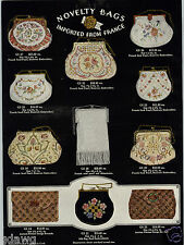 1931 PAPER AD French Made Seed Pearl Beauvais Embroidery Purse Persian COLOR