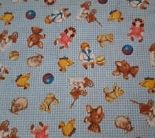 Precious Memories BTY Bessie Pease Quilting Treasures 1930's Children Toys Blue