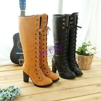 Womens High Heel Block Knee High Boot Lace Up Punk Round Toe Shoes Plus Size UK