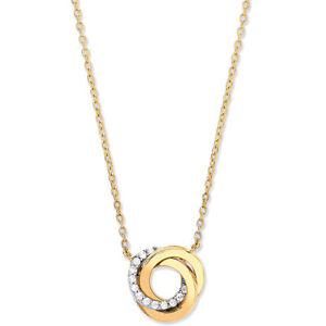 """9CT HALLMARKED YELLOW, ROSE & WHITE GOLD CIRCLES 18"""" PENDANT NECKLACE"""