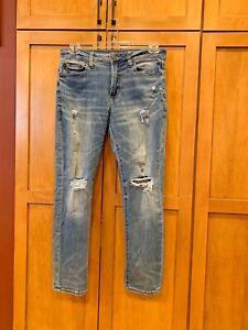 mens american eagle next level flex medium wash ripped jeans size 31/30