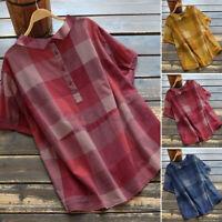 ZANZEA Women Striped Plaid Check  Button Down Tops Baggy Cotton Tee Shirt Blouse