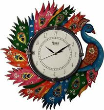 """Hand Painted Wooden Wall Clock Peacock Analog Indian Round Antique Clock 12"""""""