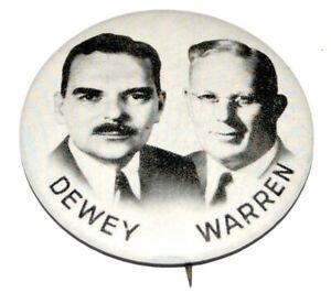 1948 THOMAS E. DEWEY EARL WARREN campaign political presidential pinback button