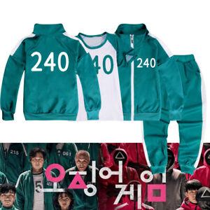 [ SQUID GAME ] NO.240 Kids Halloween Costume Tracksuit T-shirt Green 3pcs Set
