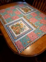 Homemade Patchwork Quilt, Hand Tied, Pink,Blue,Yellow, Green, White Bunnies
