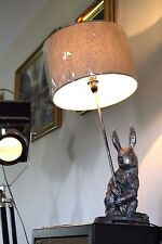 Silver Grey X Large Shabby Chic Sitting Hare Ornamental Easter Rabbit Table Lamp