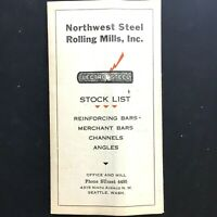 1940s NORTHWEST STEEL ROLLING MILLS  Vintage Metal Stock List SEATTLE WASHINGTON