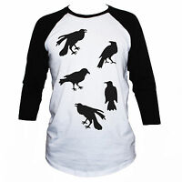 Crows T-Shirt Goth Tattoo Graphic Printed Retro Tee Size S M L XL Mens/Womens