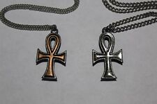 Lot of 39 Pewter Sparkle & Copper Eternal Cross Pendant Charm Necklace Chain