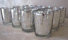 77 X Silver Tea Light Holders Mercury Glass Candle Votive Wedding Vintage 8hr
