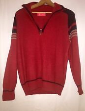 Vintage 80s Pullover Red Navy Blue Half Zip Sweater Jacket Xiang Sheng L Womens