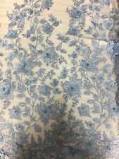 Baby Blue 3D Embroidered Satin Floral Pearl Wedding Prom Formal Lace Fabric -BTY