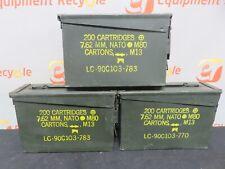 Army Surplus Ammo Ammunition Boxes 200 Cartridge Storage Vintage Lot of 3