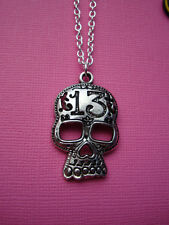 FUNKY SILVER GHOST SKULL NECKLACE HALLOWEEN UNLUCKY 13 GOTH EMO HORROR PUNK