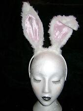 White & Pink Floppy Eared Rabbit/Hare Ears Faux Fur Instant Rabbit Fancy Dress