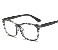 Men Women Floral Black Frame Full Rim Glasses Spectacles Retro Vintage Eyeglass