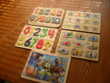 5 -  Kids Puzzle Wood Peg Board Cars, Numbers, Animals & Woody