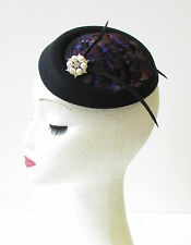 Black Purple White Feather Pillbox Hat Fascinator Hair 1930s Races Vintage 1435
